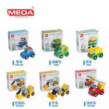 MEOA High Quality 6 style Enlighten Toy Building Blocks Car Brick Vehicle Block Toys Compatible Duplo Block Toys Brick Car