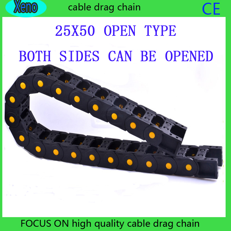 Free Shipping 25x50mm Open Type Reinforced Nylon Engineering Tank Chain For CNC Route Machine<br>