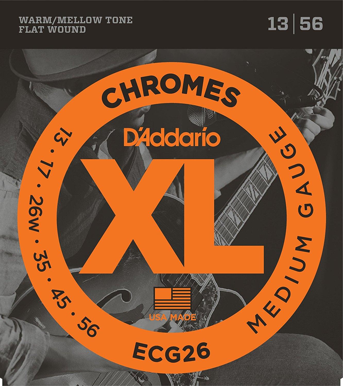 DAddario ECG26 Chromes FlatWound Electric Guitar Strings, Medium, 13-56<br>