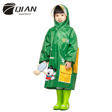 QIAN RAINPROOF Kids Rain Coat Children Rainwear Funny Cartoon Waterproof Animal Rainsuit Transparent Big Brim Cloak Raincoat