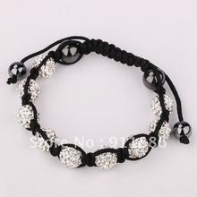 Cheap White Shamballa Bracelet Instructions,With Micro Pave 9PC*10mm CZ Disco Ball beads,Friendship bracelet,Fedex DHL Shipping(China)