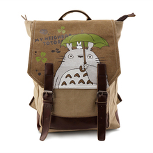 High Quality Anime Kawaii Tonari no Totoro Washed Canvas Printing School Bags for Teenagers Jan Backpack Mochila Feminina
