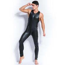 Buy Plus Size Male Catsuit Skinny Faux Leather Black Red Stretch PVC Sexy Bodycon Sleeveless Zipper Jumpsuit Men Latex Bodysuit