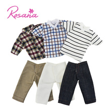 3 Sets/Pack Handmade Outfit Casual Clothing Horizontal Stripes Checkered Shirt Jeans Pants Clothes for Barbie Ken Doll Gifts(China)