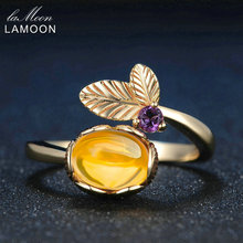 LAMOON Fine Jewelry Plant Leaf Natural Oval Citrine 925 Sterling Silver Jewelry Women Wedding Ring 14K Yellow Gold Gem LMRI015