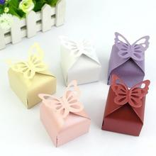 Hot Sale 50pcs Romantic Wedding Favors Decor Butterfly DIY Candy Cookie Gift Boxes Wedding Party Tools Candy Box for Holiday