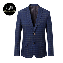 2017 Autumn Men's Fashion Slim Fit Casual Formal Blazer Masculino two-button Navy Blue Plaid Slim Long Sleeve Jackets Blazers(China)