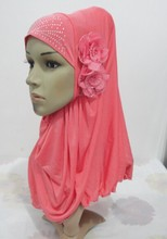 H965a latest muslim hijab with 2 pieces flowers,mixed colors