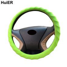 HuiER High Food Grade Silicone Auto Car Steering Wheel Cover Anti-slip 36-38CM Car Styling Steering-wheel covers Free Shipping(China)