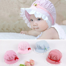 Cute Baby Caps Lovely Lace Bowknot Summer Girl Hat Children's Baby Striped Sun Hat Cap for Kid Chirldren(China)