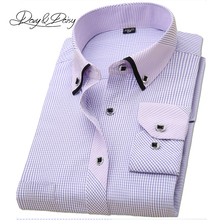 High Quality Men Shirt Long Sleeved Classical Solid Plaid Striped Casual Dress Shirts Men Camisas 17 Options DS-043