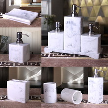 marble design bathroom accessaries resin Liquid bottle toothbrush cups Toothbrush holde soap dish(China)