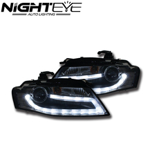 New 2pcs/set Nighteye Auto Car LED Projector Headlights DRL Fog Light Lamp Turn Signal Kit For Audi A4 2009 2010 2011 2012