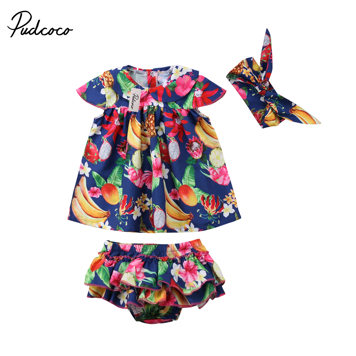 UK Summer Toddler Baby Girl Clothes Ruffle Tops Floral Short 3PCS Outfit Sunsuit