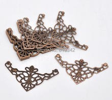 Free shipping-100Pcs Copper Tone Filigree Triangle Wraps Connectors Metal Crafts Gift Decoration DIY Findings 4.8x2.6cm J0534(China)
