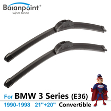 "Wiper Blades for BMW 3 Series (E36) Convertible 1990-1998 21""+20"", Set of 2, Best Auto Accessories"