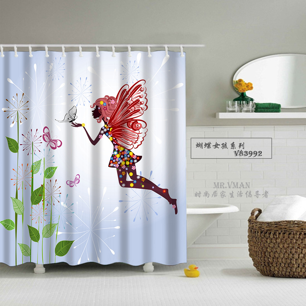Beautiful fabric shower curtains
