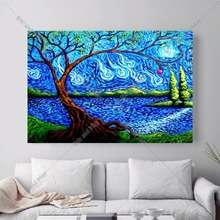Abstract Blue Tree Artwork Canvas Art Print Painting Poster Wall Pictures For Living Room Decor Home Decoration No Frame