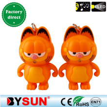 Garfield Cat Cartoon animal figure Keychain Family keyring Light+Meow sound Mobile pendant Car&Bag decoration Giveaway Torch Toy