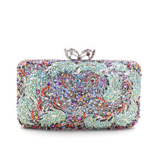 Women Plating Flower Hollow Out Topaz Crystal Evening Wedding Prom Box Clutch Handbag Purse Metal Hard Case Clutches Bag(China)