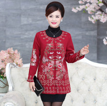 O Neck Printed Coat Fall New Arrival Middle Age Fashion Elegant Mother Flower Outerwear Plus Size Women Outer Garment 4XL 3XL