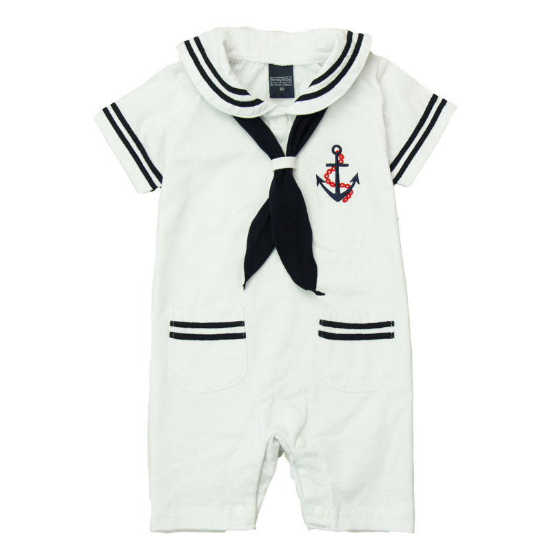 Navy Rompers Baby Cotton Solid Worsted Coverall Kids Summer Short-Sleeve Sailor Suit Rompers Brand New hat White Navy Rompers<br><br>Aliexpress