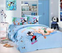 skyblue mickey mouse holiday character print bedding sets boys children home decor Egyptian cotton twin full queen duvet covers(China)