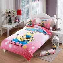 Minions cartoon bedlinens 3/4/5pcs high quality cotton fabric printed pink comforter quilt bedding cover sets for kids girl