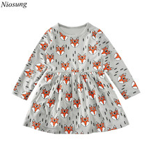 Fashion Baby Girl Dress Clothes Long Sleeve Foxes Print Long Sleeve Toddler Kid Princess Dress wholesale