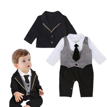 2017 Spring Baby formal clothes 2pcs set long sleeve romper+coat baby boy gentlemen clothes infant toddler suit wedding wear