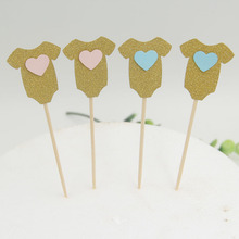 Gold Baby clothes Cupcake toppers picks decoration for Kids birthday party favors Decoration Baby shower cake favor supplies