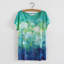 Fashion Plus Size 29 Styles Floral Print Basic Plain T Shirt Female Casual Tops Short Sleeve Women T-shirt 804(China)