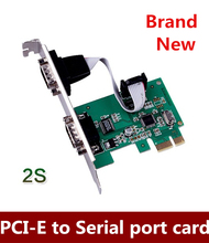 Brand New   PCI Express PCI-E to 2 Ports COM 9 Pin Serial RS232 Card Adapter for Win7 Vista XP 64 Free Shipping
