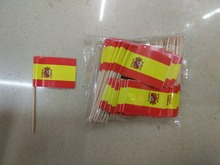 Mini Spain Flag 50Pcs Paper Food Picks Dinner Cake Toothpicks Cupcake Decoration Fruit Cocktail Sticks Party Supplies(China)