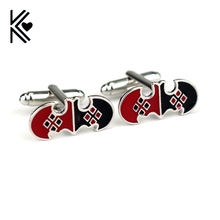 Free Shipping The Batman Harley Quinn Cufflinks Fashion Black and Red Enamel Cufflinks Movie Jewelry Men Shirt Cuff Button