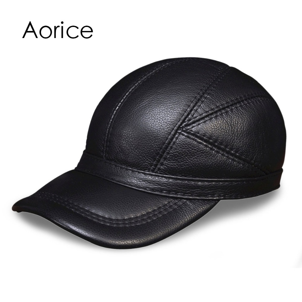 HL030 MENS genuine leather baseball cap hat brand new cow skin warm caps hats<br>