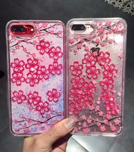 Buy 2017 Pink Blossom Flower Case iphone 6 6s Plus Back Cover Dynamic Liquid Glitter quicksand Phone Cases iPhone 8 Plus 7 P for $6.29 in AliExpress store