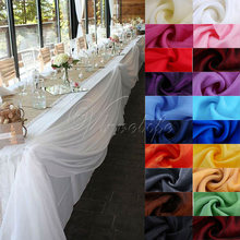 5M x 1.4M Soft Sheer Organza Swag Bow for Wedding Party Venue Banquet Top Table Skirts Cloth Decor DIY Supplies 18Colors(China)