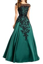 black and green long mother of the bride dresses for evening party vestido de madrinha applique lace evening gown for weddings