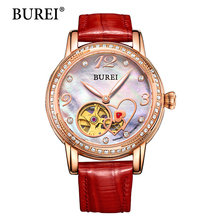 BUREI Brand Watch Women Japanese Mechanical Movement Skeleton Dial Genuine Leather Strap Diamond Sapphire Waterproof Clock