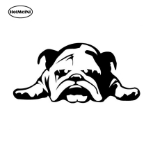 HotMeiNi 11*23 cm Car Stickers ENGLISH BULLDOG TIRED PUPPY DOG pattern car window car body decal Black/Silver etc 13 color(China)