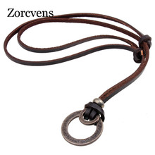 ZORCVENS New Arrival Fashion Long Genuine Brown Leather Vintage Hoops Men Pendant Necklace Women Men Male Female Jewelry(China)