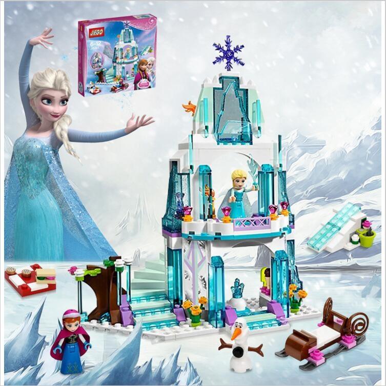 316pcs Color  Dream Princess Elsa Ice Castle Princess Anna Set Model Building Blocks Gifts Toys Compatible lepin Friends<br><br>Aliexpress