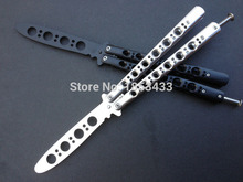 440C Stainless Steel knife butterfly Practice Knife Butterfly Training Black silver butterfly knife Special holes free shipping