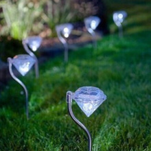 4pcs/lot Diamond Stainless steel Solar lawn light for garden decorative solar power LED solar light outdoor garden Yard decor(China)