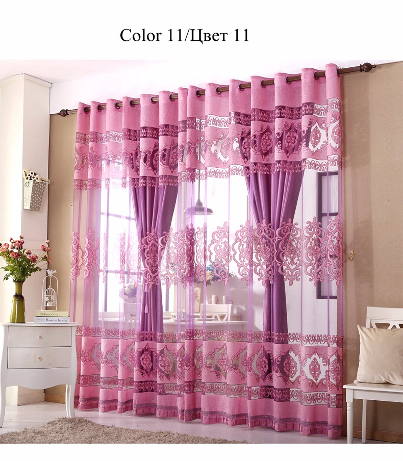 European Royal Curtains 11 Colors Embroidered Voile Curtains for Living Room Drapes Crystal Beaded Curtains Sheer (54)