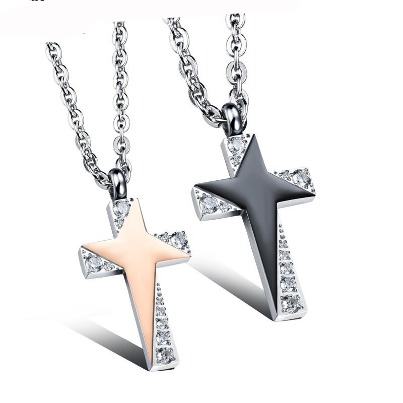 Mens Stainless Steel Chain Black Star Crystal Cross Love Necklaces for Couples Korean Ladies Fashion Trendy Paired Pendants(China (Mainland))