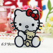 Hello Kitty Holding a Bear Badge Embroidered Iron-on Patches Garment Appliques DIY Accessory 5pcs/lot