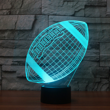 USB Creative American football 3D Night Light Lighting Change LED Table Desk Lamp Fashion Veilleuse rugby 3d led lamp home decor