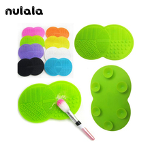 1 Pc Makeup Brush Cleaner Cleaning MakeUp Washing Brush Silica Cleaning Mat Pad with Sucker Silica Scrubber Board